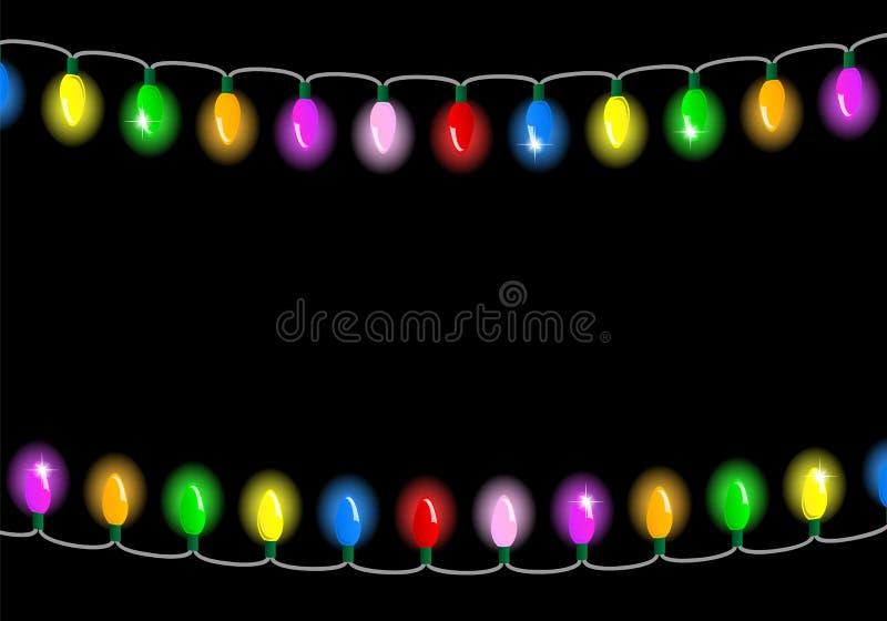 Luci di Natale su fondo scuro con spazio per testo illustrazione vettoriale