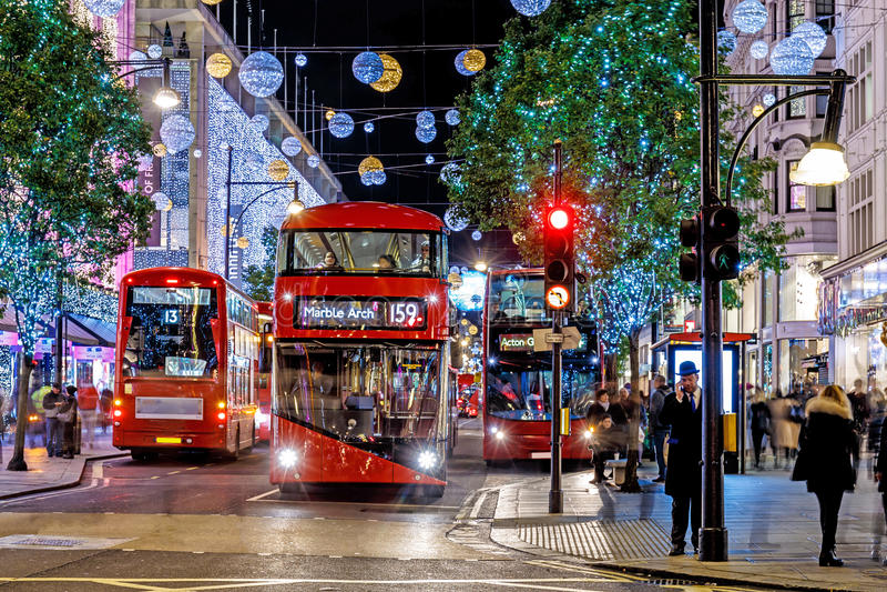 Luci di Natale 2016 sulla via di Oxford, Londra immagini stock libere da diritti