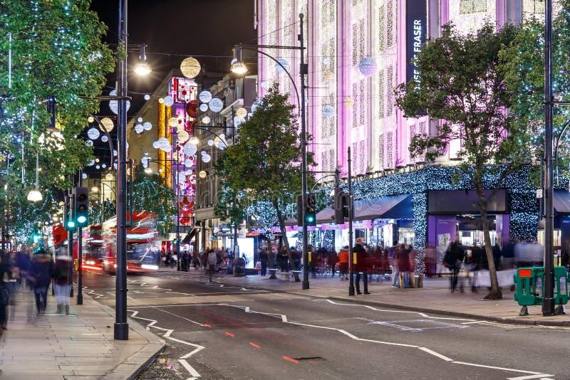 Luci di Natale 2016 sulla via di Oxford, Londra immagini stock