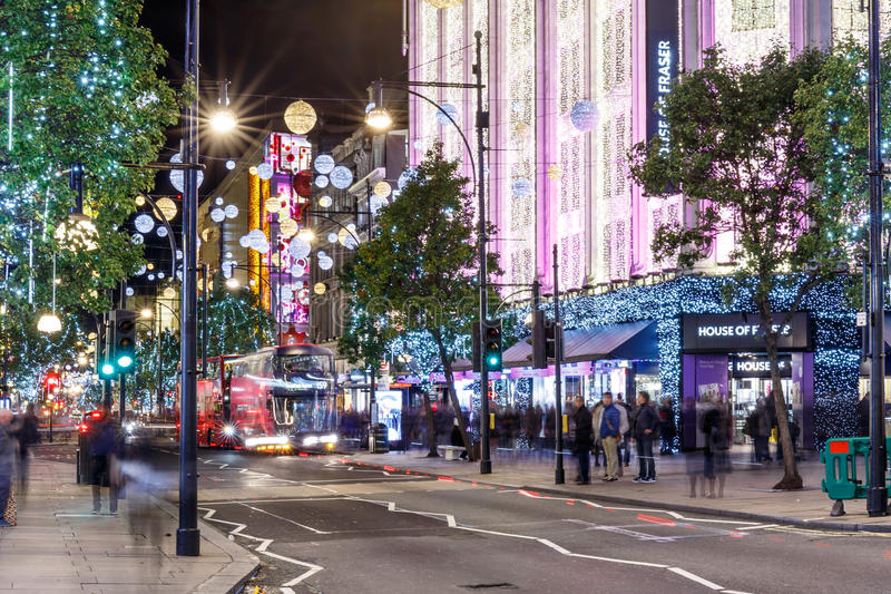 Luci di Natale 2016 sulla via di Oxford, Londra fotografia stock libera da diritti