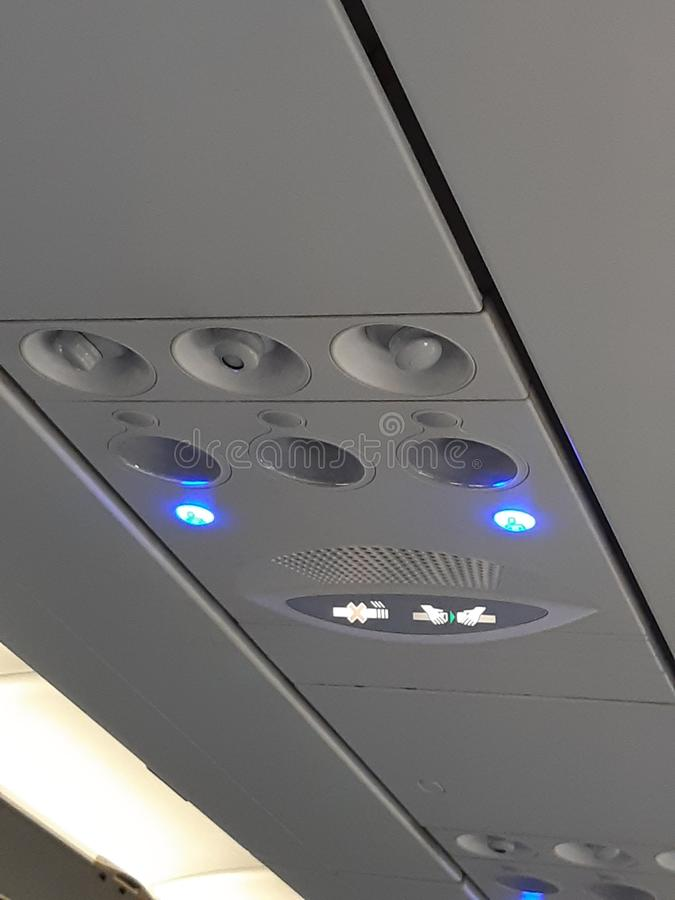 Luci di sicurezza dell'aereo di aria immagini stock libere da diritti