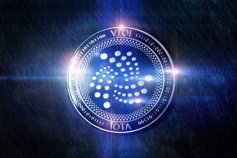 Luci digitali della moneta di iota che compongono illustrazione di stock