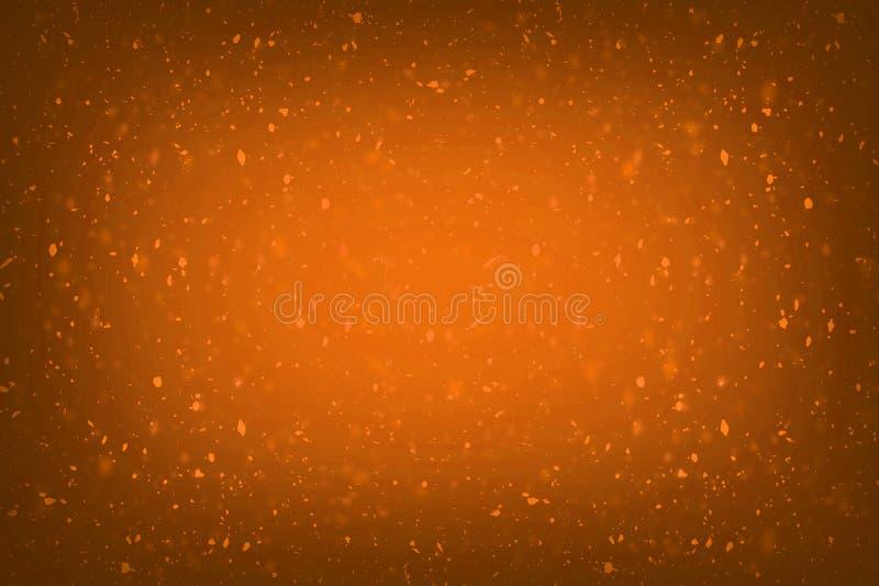 Luci dorate della spruzzata del bokeh del miele della sfuocatura dei coriandoli arancio astratti di scintillio con il fondo della illustrazione vettoriale