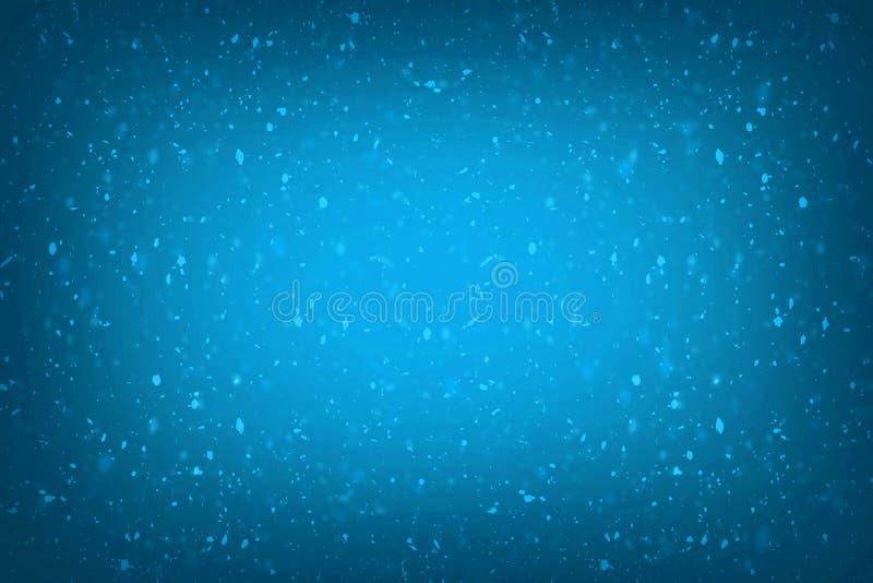 Luci dorate della spruzzata del bokeh del miele della sfuocatura dei coriandoli blu astratti di scintillio con il fondo della com illustrazione vettoriale