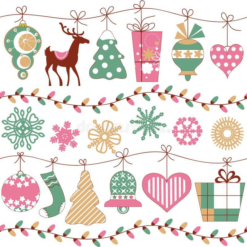Luci ed icone di Natale royalty illustrazione gratis