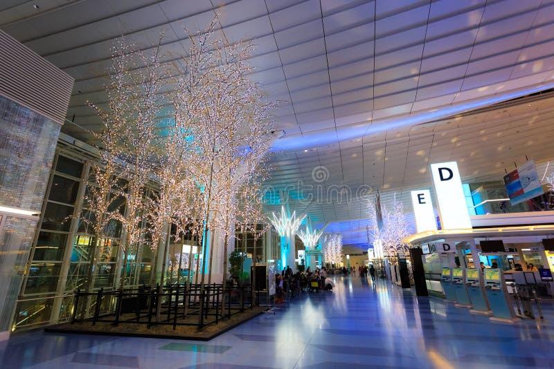 Luci ed illuminazioni all'aeroporto di Haneda immagine stock libera da diritti