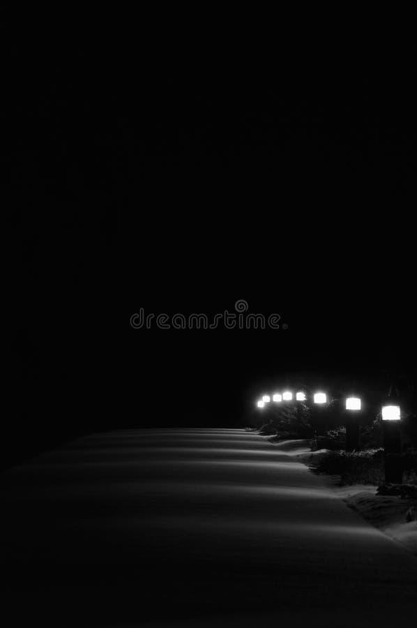 Luci illuminate del sentiero per pedoni del parco di Snowy, all'aperto bianco di Lit luminosa immagine stock