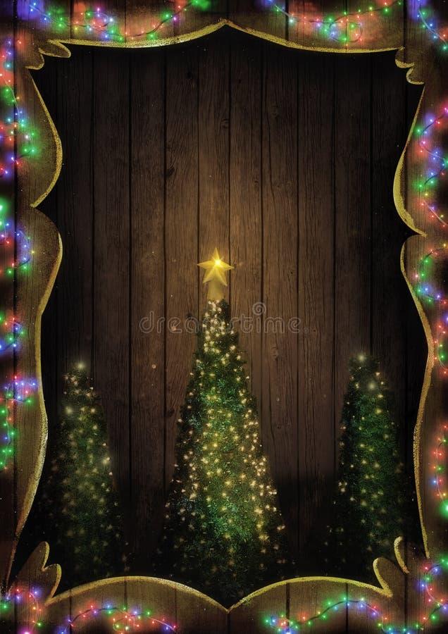 Luci leggiadramente di Natale su legno Albero di Natale illuminato immagini stock