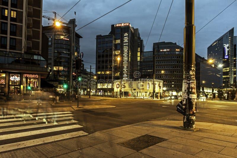 luci nelle notti a Oslo, immagini stock