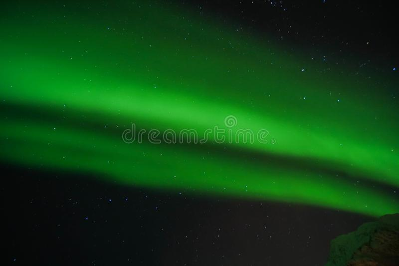 Luci nordiche verde intenso dell'aurora del grano in chiaro cielo alla notte nelle isole Norvegia di Lofoten illustrazione vettoriale