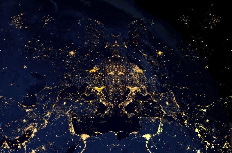 Luci notturne della città della terra Effetto del collage e fondo nero illustrazione di stock