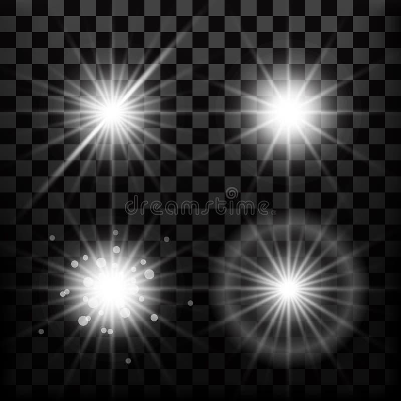 Luci realistiche della stella ed elementi del raggio luminoso o delle scintille di incandescenza illustrazione di stock