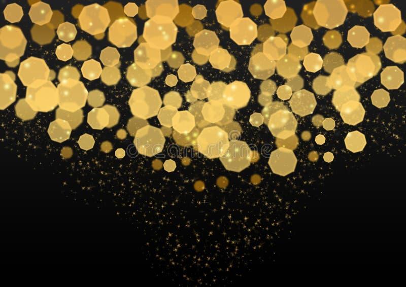 Luci, scintilli e Bokeh dorati luminosi dell'estratto nel fondo scuro fotografia stock libera da diritti