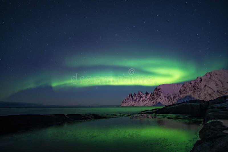 Luci settentrionali, Aurora Borealis, montagne di denti del Diavolo sullo sfondo, Tungeneset, Senja, Norvegia fotografia stock