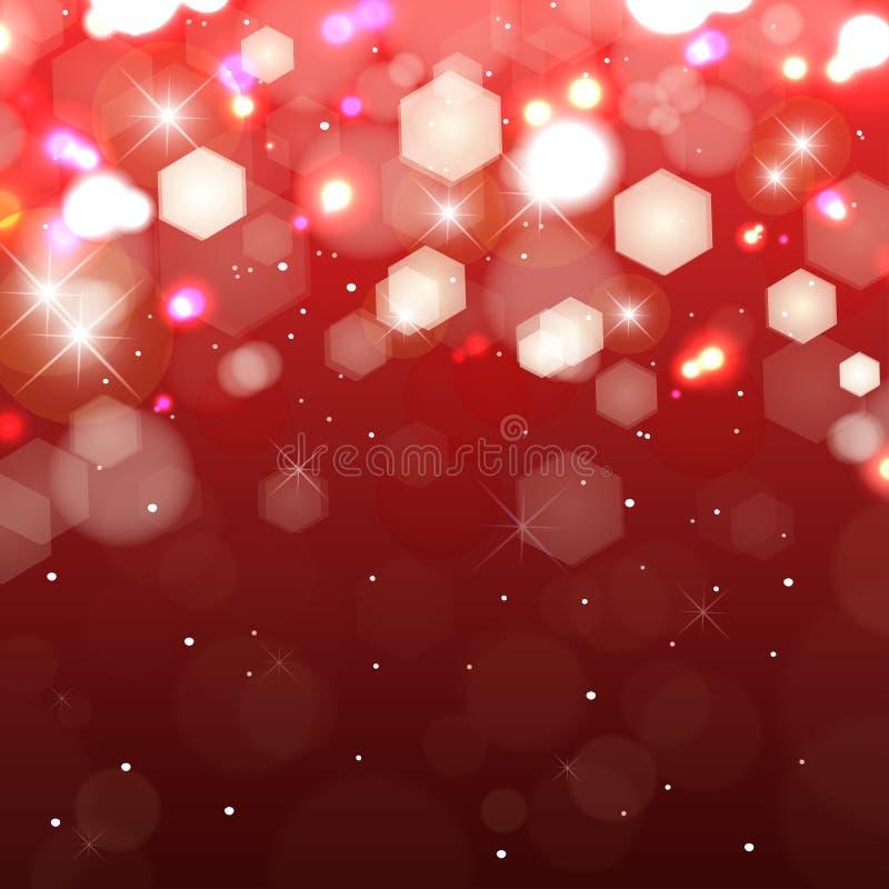 Luci su fondo rosso. Luce colorata di luccichio royalty illustrazione gratis