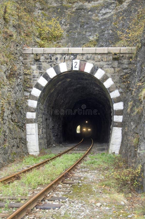 Luci sul treno in tunnel di pietra ferroviario immagine stock libera da diritti
