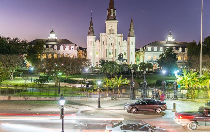 Luci sulla notte di Mardi Gras, New Orleans di Jackson Square immagine stock libera da diritti