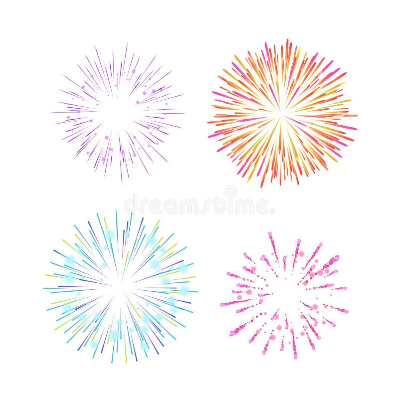 Luci tradizionali festive variopinte, fuochi d'artificio indiani, nel cielo illustrazione di stock