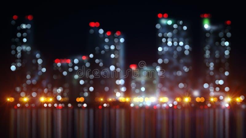 Luci vaghe della città di notte con la riflessione illustrazione di stock