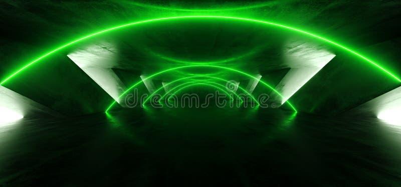 Luci vibranti luminose cyber verdi d'ardore del retro Sci Fi dell'entrata dell'arco del fumo neon futuristico fluorescente del la illustrazione di stock