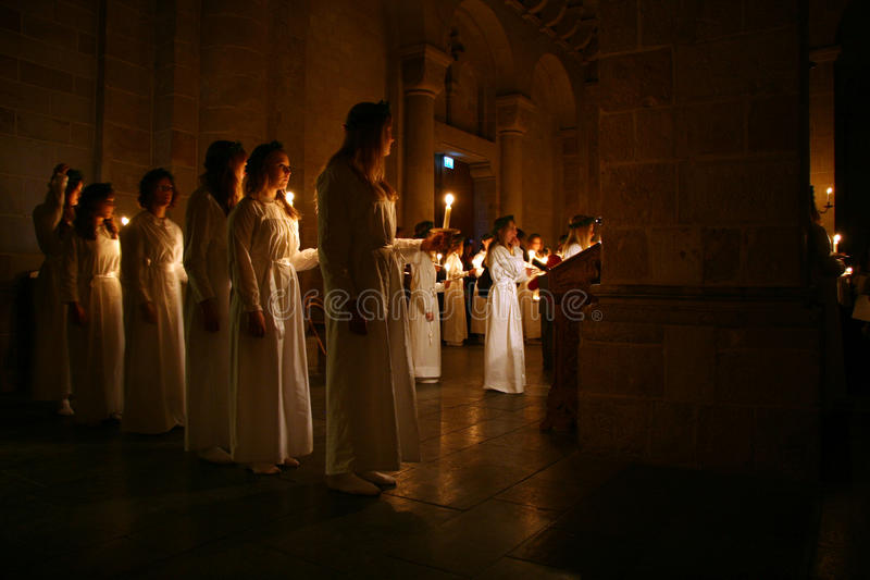 Download Lucia Festival in Sweden editorial stock image. Image of candles - 28039794