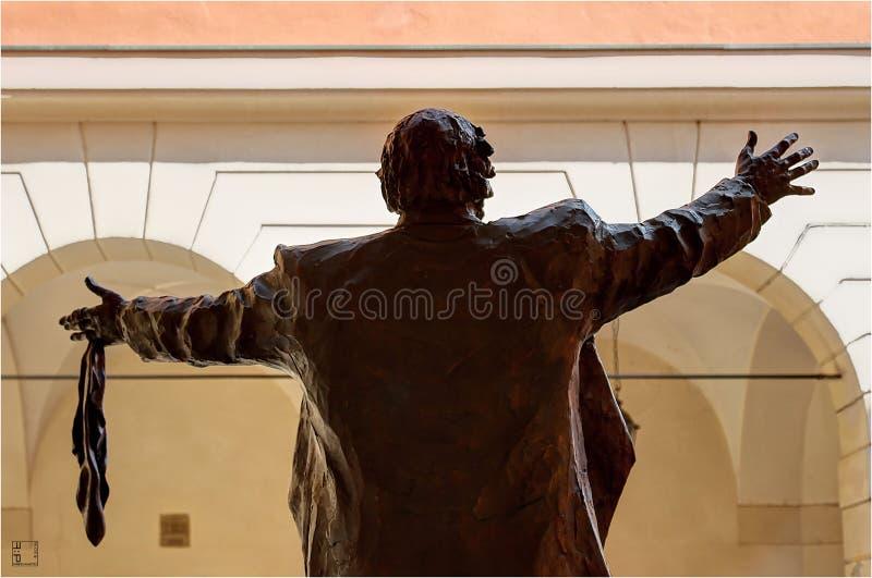 Modena, Emilia Romagna, Italy, Luciano Pavarotti bronze monument, Municipal Theater. Luciano Pavarotti bronze monument, Municipal Theater, Modena city stock photography
