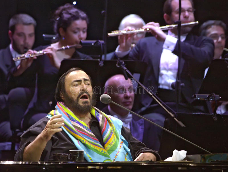 Luciano Pavarotti, famous tenor, sings during the concert. Belgrade, Serbia - May 21, 2005: Luciano Pavarotti, famous tenor, sings during the concert royalty free stock photography