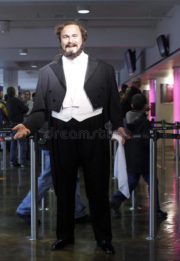 Luciano Pavarotti. Realistic wax statue in Madame Tussauds museum in London, UK royalty free stock photos