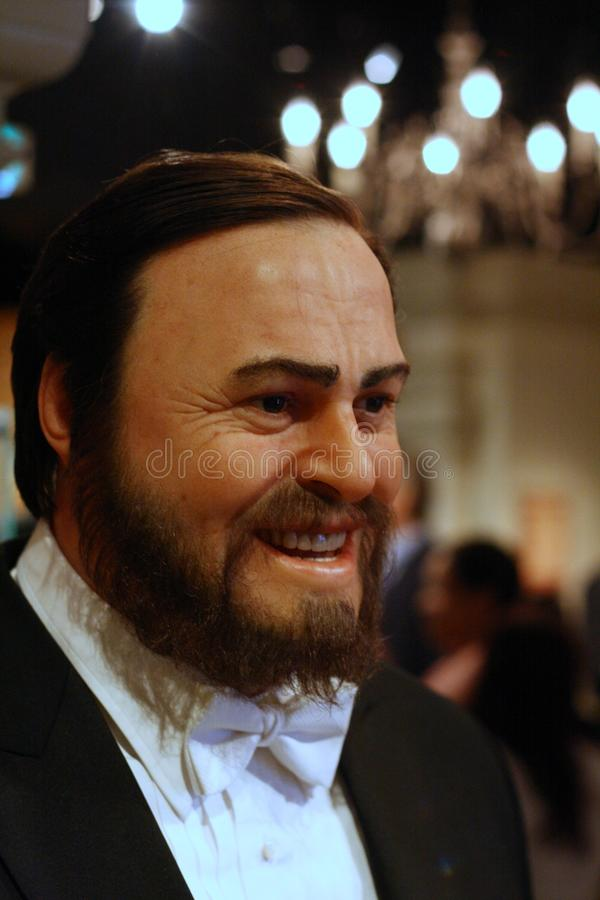 Luciano Pavarotti wax figure. At Madame Tussaud museum in Amsterdam royalty free stock images