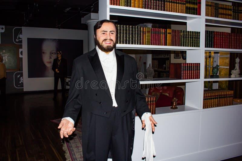 Luciano Pavarotti wax statue, Madame Tussaud`s Museum Vienna. Luciano Pavarotti, Cavaliere di Gran Croce OMRI was an Italian operatic tenor who also crossed over royalty free stock photography