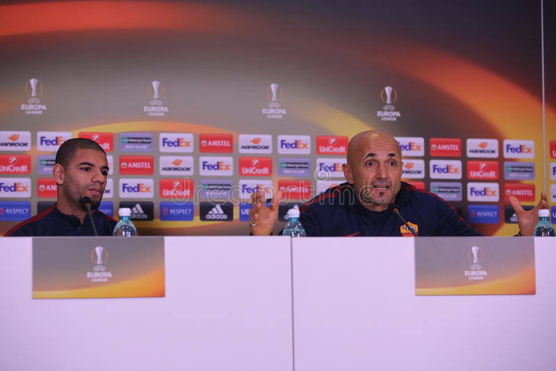 Luciano Spalletti and Bruno Peres. Luciano Spalletti manager of AS Roma and Bruno Peres player of AS Roma, pictured during press conference held before the stock photography