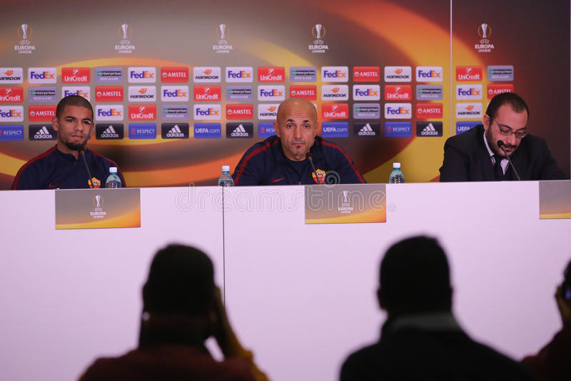 Luciano Spalletti and Bruno Peres during press conference. Luciano Spalletti manager of AS Roma and Bruno Peres player of AS Roma, pictured during press stock image