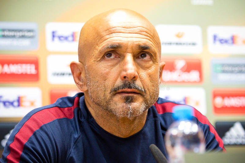 Luciano Spalletti. Coach of AS Roma at a press conference royalty free stock photos