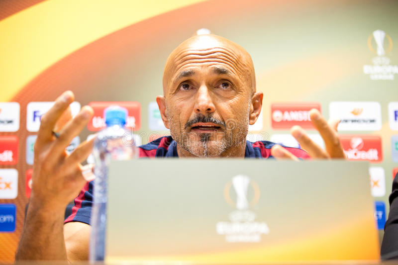 Luciano Spalletti. Coach of AS Roma at a press conference stock photos