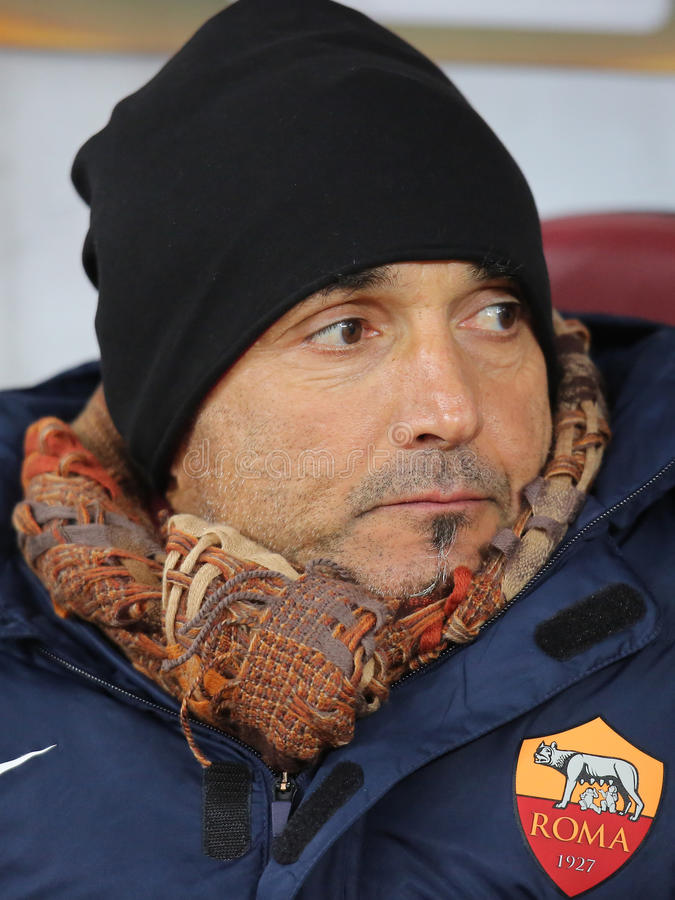 Luciano Spalletti. Manager of AS Roma, pictured during the Europa League game between Astra Giurgiu and AS Roma royalty free stock photo