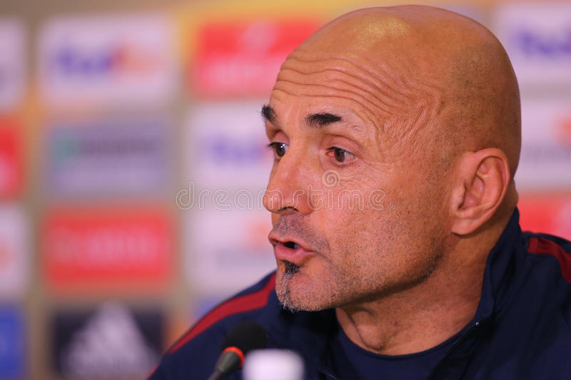 Luciano Spalletti. Manager of AS Roma, pictured during press conference held before the Europa League game between Astra Giurgiu and AS Roma royalty free stock photography