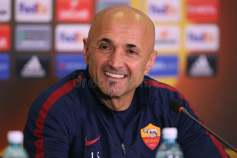 Luciano Spalletti. Manager of AS Roma, pictured during press conference held before the Europa League game between Astra Giurgiu and AS Roma stock images