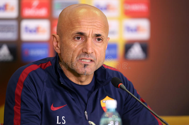 Luciano Spalletti. Manager of AS Roma, pictured during press conference held before the Europa League game between Astra Giurgiu and AS Roma royalty free stock image