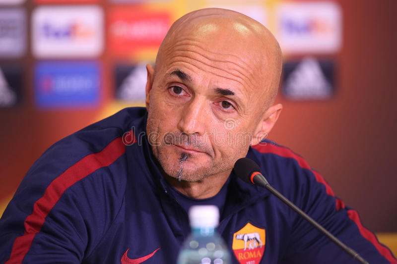 Luciano Spalletti. Manager of AS Roma, pictured during press conference held before the Europa League game between Astra Giurgiu and AS Roma stock photos