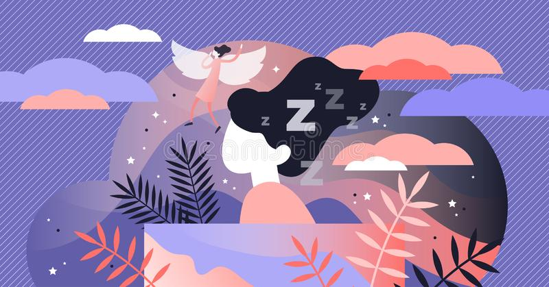 Lucid dreaming vector illustration. Flat tiny sleep control persons concept. Abstract night alternative REM state. Supernatural experience when soul left body vector illustration