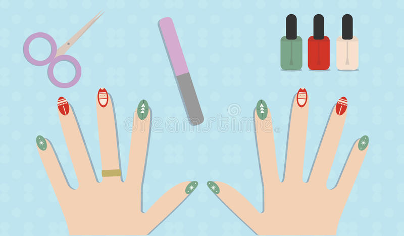 Lucidatura del gel del manicure di Natale illustrazione vettoriale