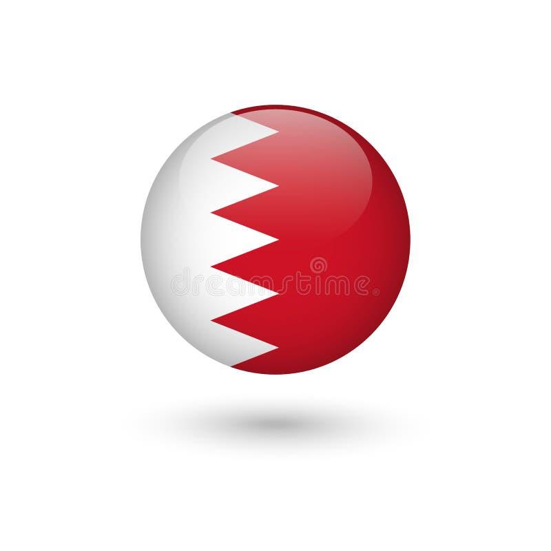 Lucido rotondo della bandiera del Bahrain illustrazione di stock