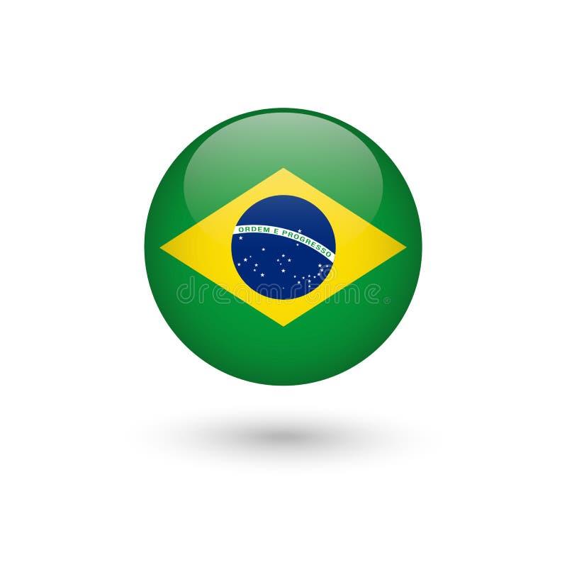 Lucido rotondo della bandiera del Brasile fotografia stock