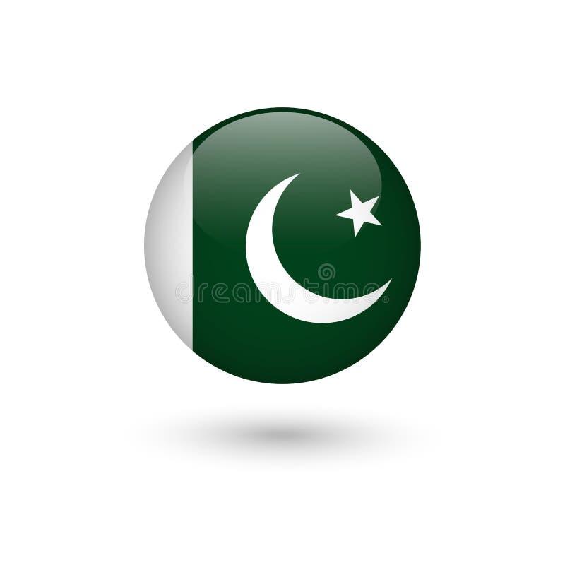 Lucido rotondo della bandiera del Pakistan illustrazione di stock
