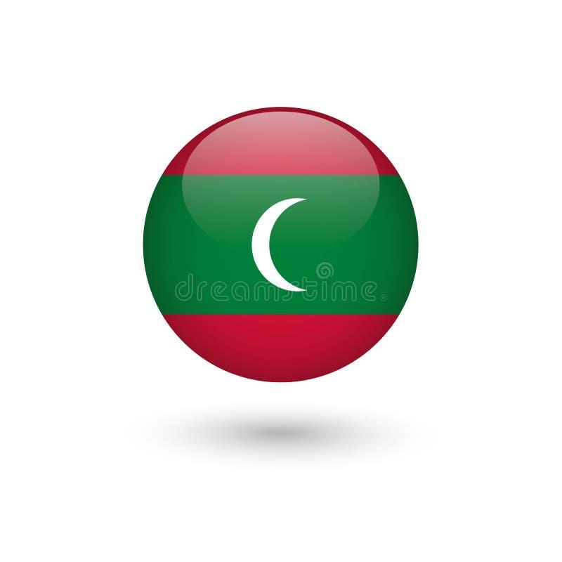 Lucido rotondo della bandiera delle Maldive illustrazione di stock