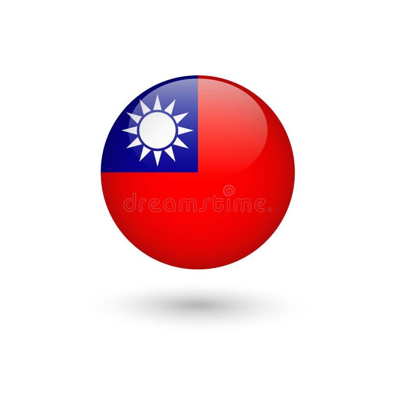 Lucido rotondo della bandiera di Taiwan fotografia stock libera da diritti