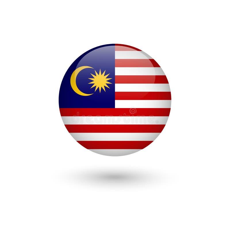 Lucido rotondo della bandiera della Malesia illustrazione vettoriale