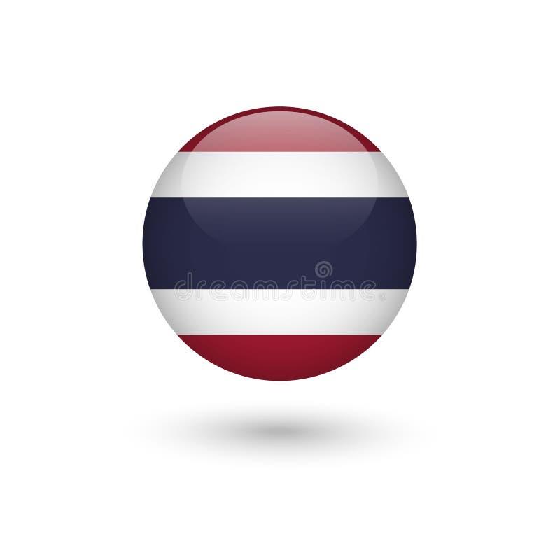 Lucido rotondo della bandiera della Tailandia illustrazione di stock