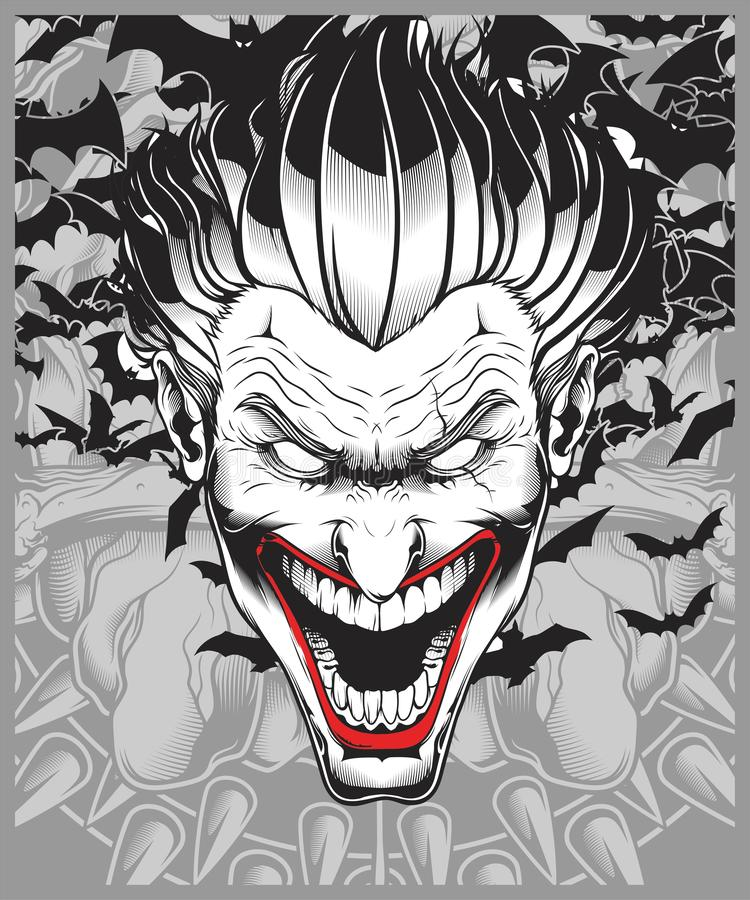 Lucifer,evil,demon,joker hand drawing vector royalty free illustration