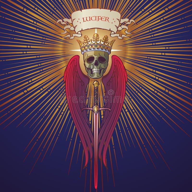 Lucifer follen ángel en un triángulo de oro con los haces luminosos que irradian detrás ilustración del vector